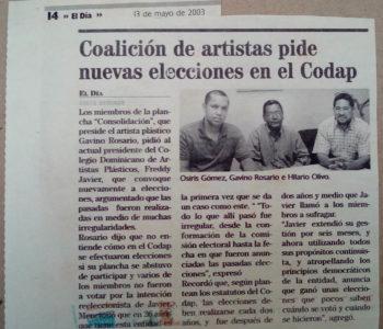 Coalición de artistas pide nuevas elecciones en el Codap - OSIRIS GOMEZ