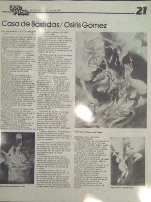 EXPOSICION DE OSIRIS GOMEZ EN LA CASA DE BASTIDAS