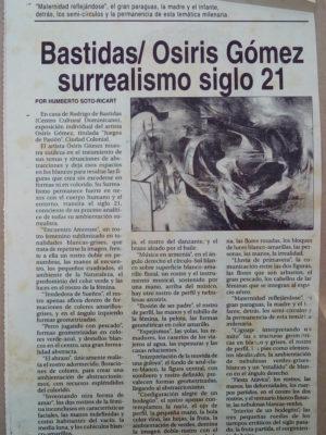 Exposición de Osiris Gómez en la Casa de Bastidas en el 2000