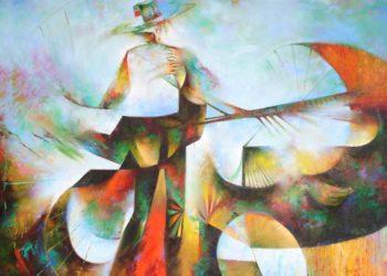 Osiris Gómez - Campesino domando la tierra 40 x 50