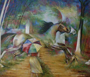 Osiris Gómez – Paisaje ecuestre con sombrilla
